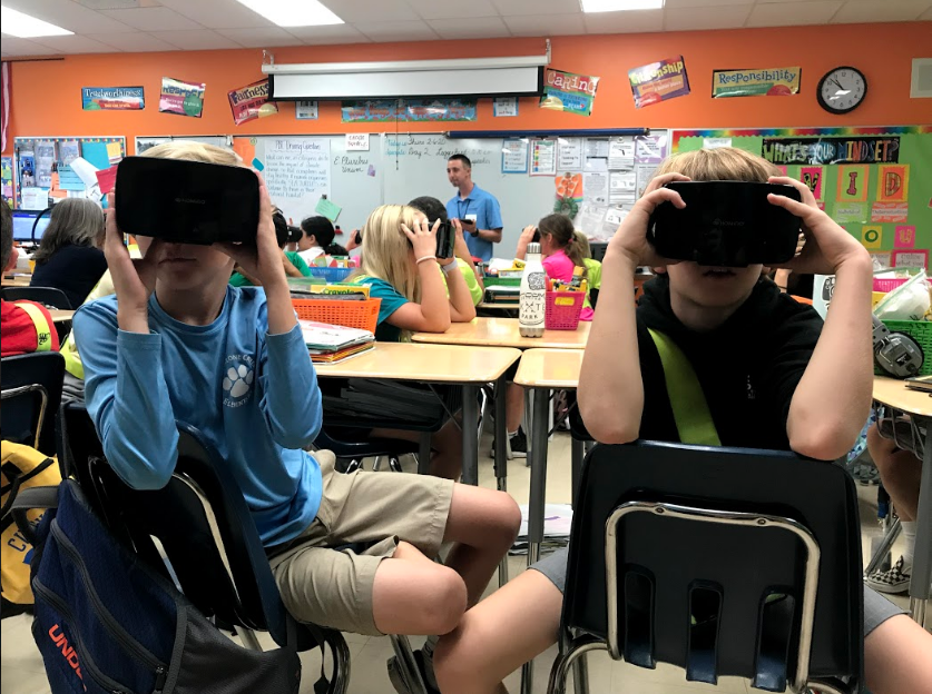 Students at Limestone Creek Elementary learn science material through VR technology.
