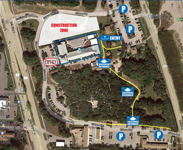 As part of the operations announcement, Loggerhead Marinelife Center  has instructed guests on proper parking and entering at its facility.