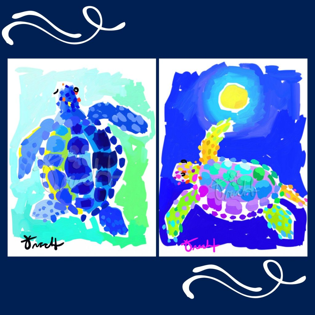Loggerhead Marinelife Center's online store features blue, ocean-inspired art designed by local South Florida artist, Kelly Tract.