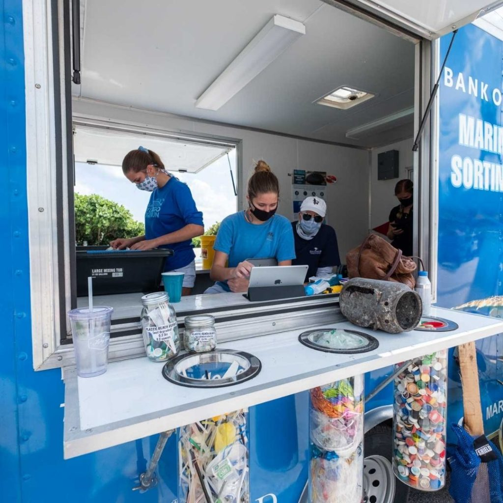 Loggerhead Marinelife Center uses its Bank of America Mobile Marine Debris Sorting Station to collect, sort, and record marine debris at conservation events.